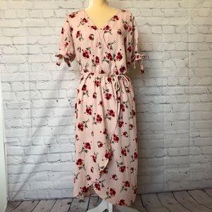 One Clothing blush floral surplice midi dress